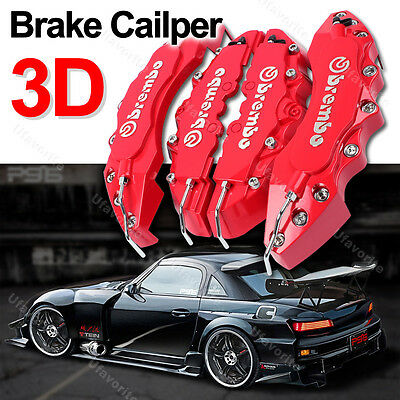3D Red Brembo Style Car Brake Disc Caliper Cover Racing Front Rear KIT U17