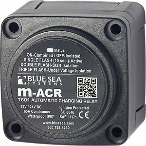 blue sea 7601 marine vsr acr automatic charge relay 65 a 12v 24v image is loading blue sea 7601 marine vsr acr automatic charge