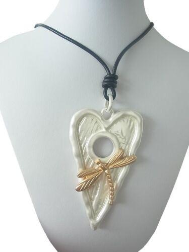 Kette Halskette Lange Kette Halsband mit Anhänger Herz /& Liebe Libelle Matt