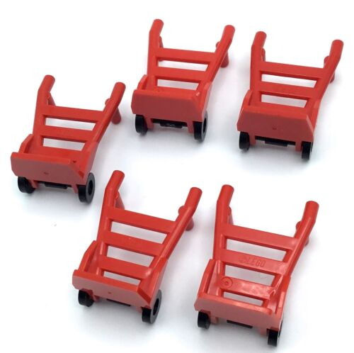 LEGO LOT OF 5 RED DOLLY PIECES TOWN MINIFIGURE ACCESSORIES CART PARTS