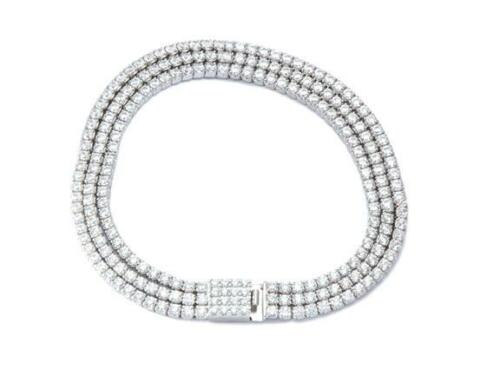 Platinum Sterling Silver White Sapphire 3 Row Wide Tennis Stackable Bracelet New