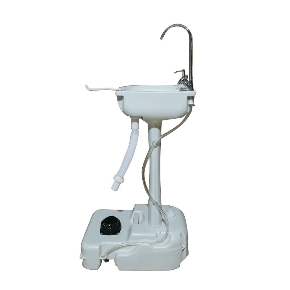 Portable Removable Outdoor Hand Wash Basin with Faucet & Garden Pipe Joint White
