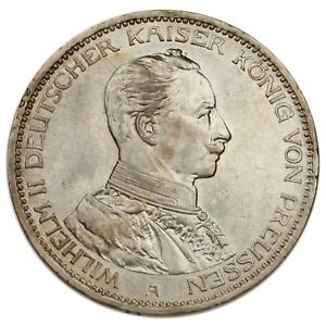 1914-A-German-States-Prussia-Silver-3-Marks-Coin-AU-KM-538