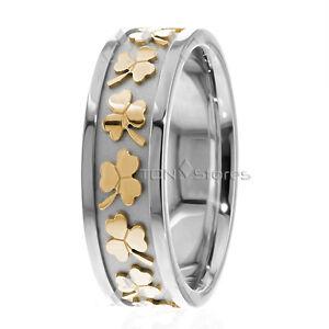 10K Solid Gold Celtic Wedding Bands Ring Clover Mens Womens