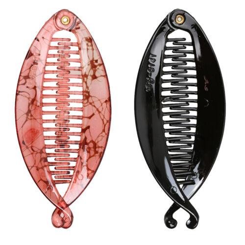 2 Stücke Twist Fisch Form Harz Kunststoff Banane Haarspange Grip Clamp