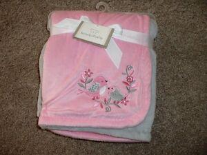 Koala Baby Girls Pink Gray Bird Blanket So Soft Infant Velboa Fleece ... 1f7981d4e