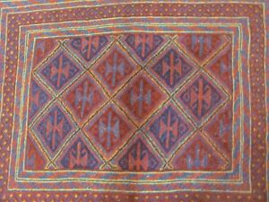 A TERRIFIC OLD HANDMADE MOSHVANI WOOL ON WOOL AFGHAN RUG (120 x 105 cm)