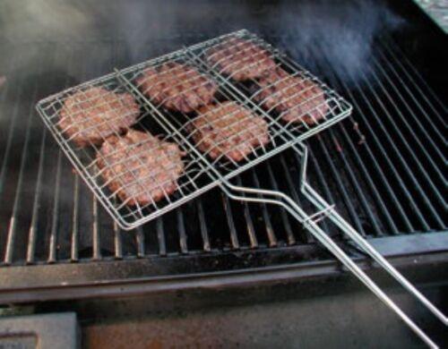 Hamburger Broiler 6 burger Rectangular Size Chromed Metal Long Handle Campfire