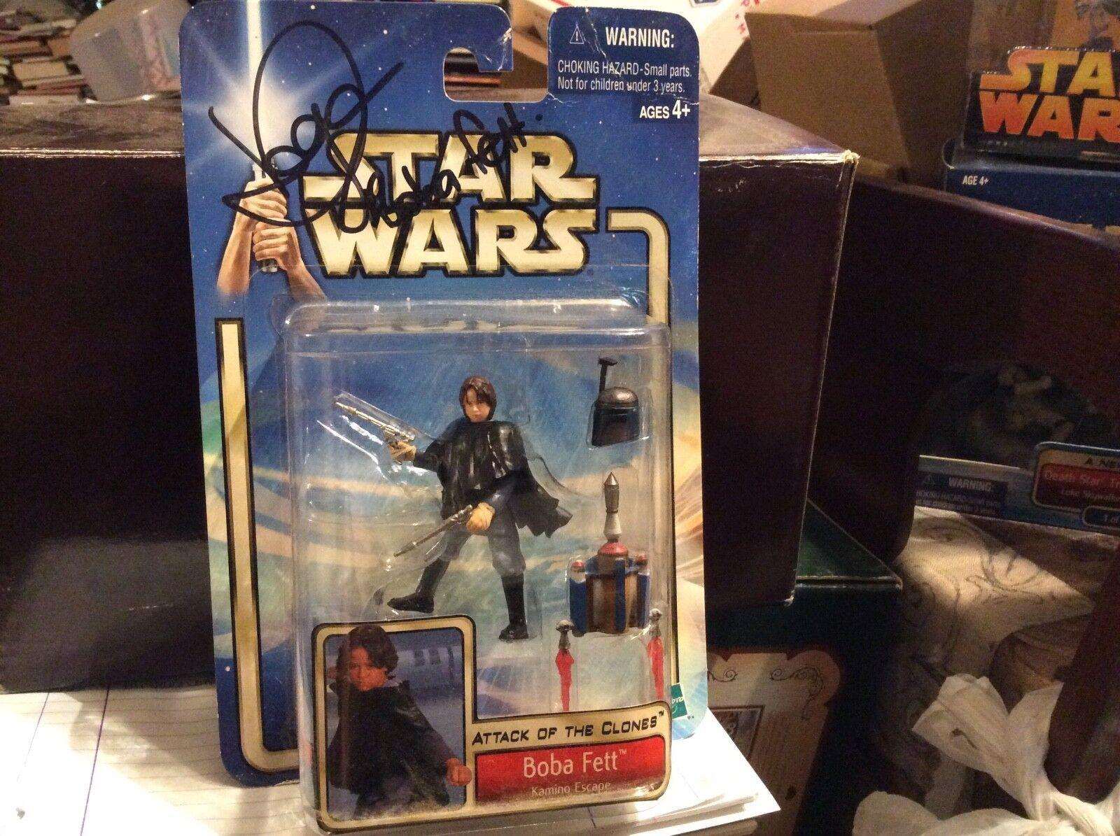 Estrella Wars Ataque De Los Clones Boba Fett Figura De Acción autógrafo por Daniel Logan