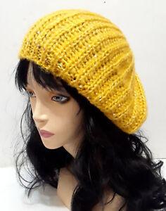 361a8ef8419150 Mustard Yellow Sequin Beret Beanie Knit Crochet Warm Winter Hat NEW ...