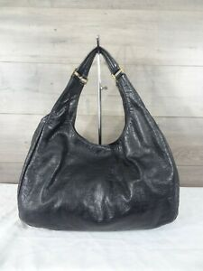 Tory-Burch-Black-Leather-Embossed-Tote-Hobo-Handbag-Satchel