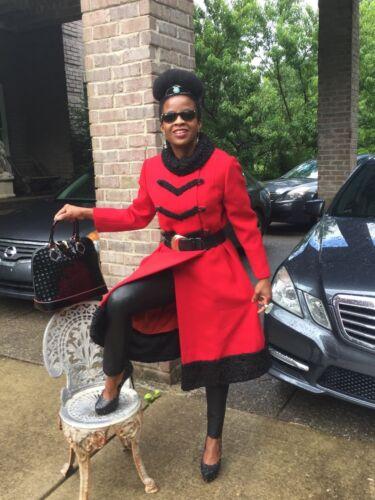 Black Princess 8 Coat Bloomingdale's Designer amp; Full S Wool Red Fur Length Trim U0x7n