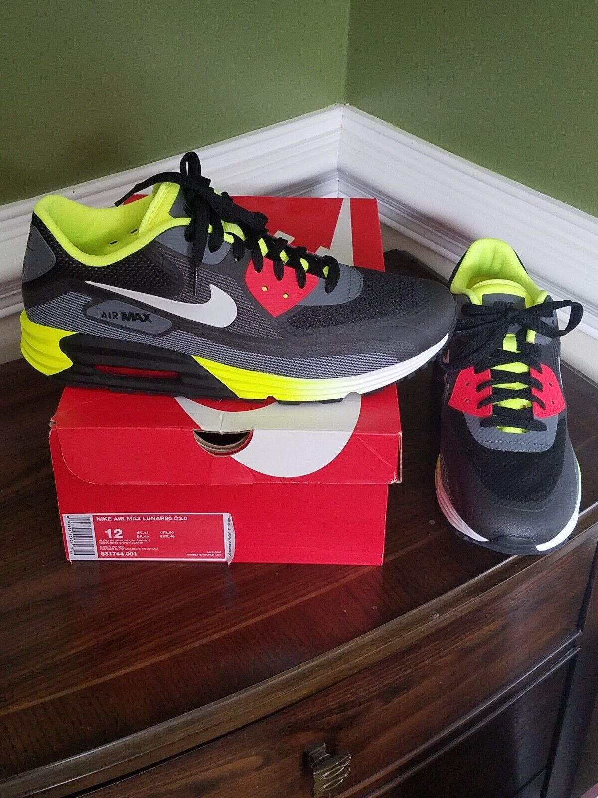 "Nike Air Max Lunar 90 C3.0 ""Black Volt"" US Mens size 12 [631744-001]"