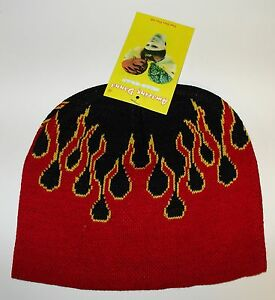 Red Black Yellow Beanie Pinstripe Flame Knit Cap Skully Winter Hat Amazing Danna