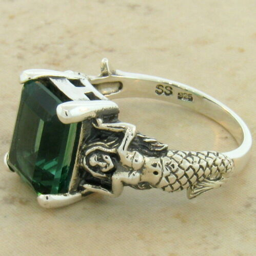 MERMAID RING VICTORIAN 925 STERLING SILVER GREEN LAB AMETHYST SIZE 10 #828