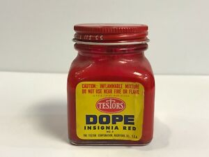 Testors 1/4 Pint 1950s Dope Insignia Red Paint Butyrate Vintage
