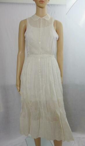 Vintage-Womens Delicate Hand Made Pinafore-Linen-S