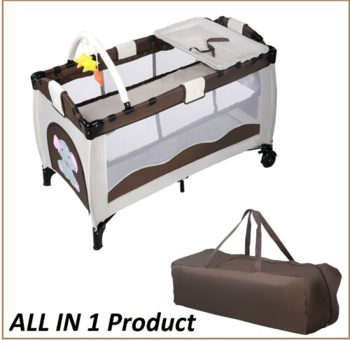 Baby Foldable Bed Infant Crib Portable Bassinet Newborn Playpen Nursery Table