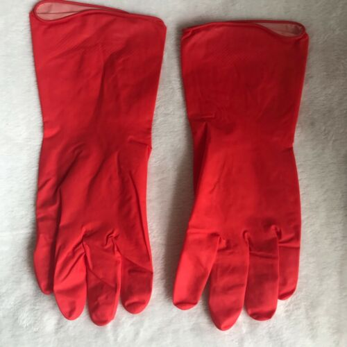 Red Household Rubber Gloves Washing Up Cleaning Good Grip Size M