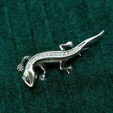 14k White Gold Diamond Back Lizard Gecko Solid Gold Pin/ Brooch with 16 Diamonds