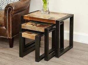Agra Reclaimed Wood Furniture Nest Of Three Coffee Tables Set Ebay
