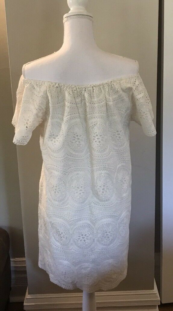 Joie Bondi Off The Shoulder Dress Ivory Ivory Ivory Eyelet Size S Small 352133