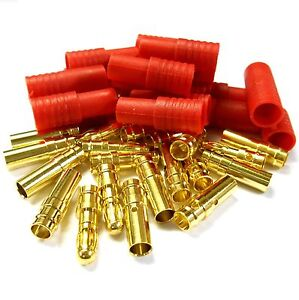 C0113-RC-3-5mm-Gold-Connector-with-Protector-Housing-Red-x-10-Male-Female
