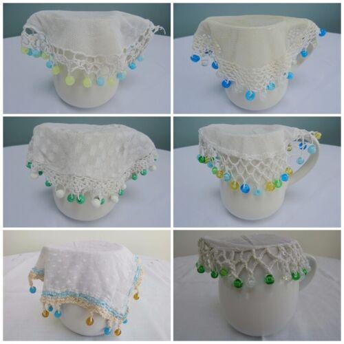 Antique Jug Cover Vintage Crochet Lace Net Milk Cream Sugar Bowl Beaded Bead 1a