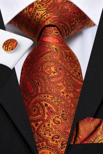 Blue Mens Striped Tie Brown Floral Necktie Set 100/%Silk Gold Orange Paisley Ties