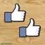 2-TWO-FACEBOOK-THUMBS-UP-Vinyl-Decal-Sticker-For-Car-Laptop-Skateboard-NEW thumbnail 2