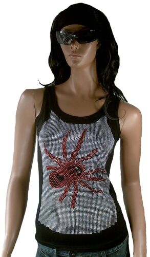SILBER RED STRASS SPIDER Rockabilly Tank Top Shirt S 36