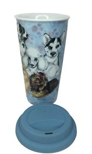 Ceramic Coffee Mug by Popular Creations Insulated 12 Breeds of Dogs w/ Blue Lid