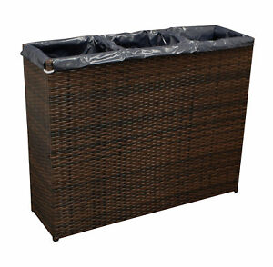 blumenkasten pflanzk bel pflanzs ule 3 fach hoch 100x30x80cm rattan braun 4050747289066 ebay. Black Bedroom Furniture Sets. Home Design Ideas