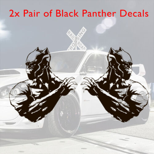2x Pair Side Black Claws King Panther Avengers Comic Car Vinyl Sticker Decal
