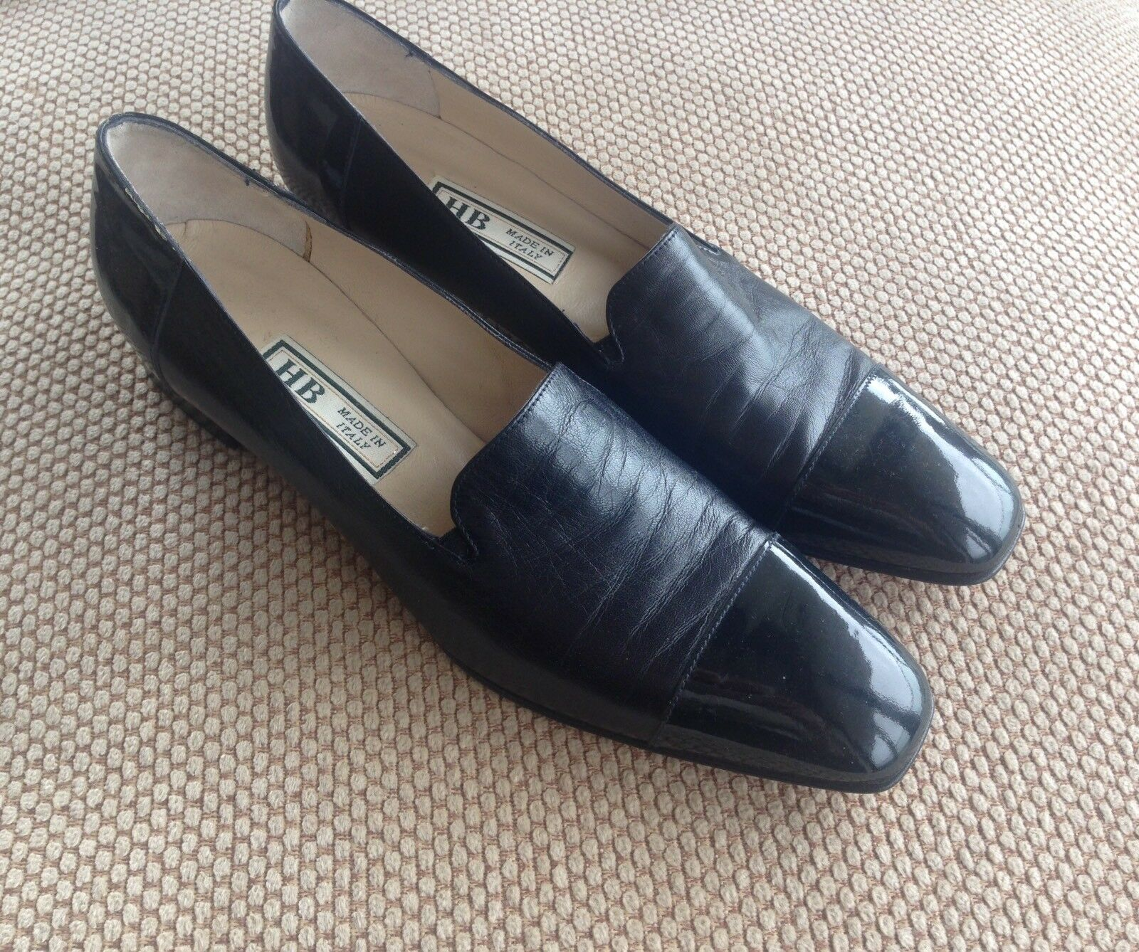 Women's Black Italian Leather shoes Size 9 UK Very Slim Fit