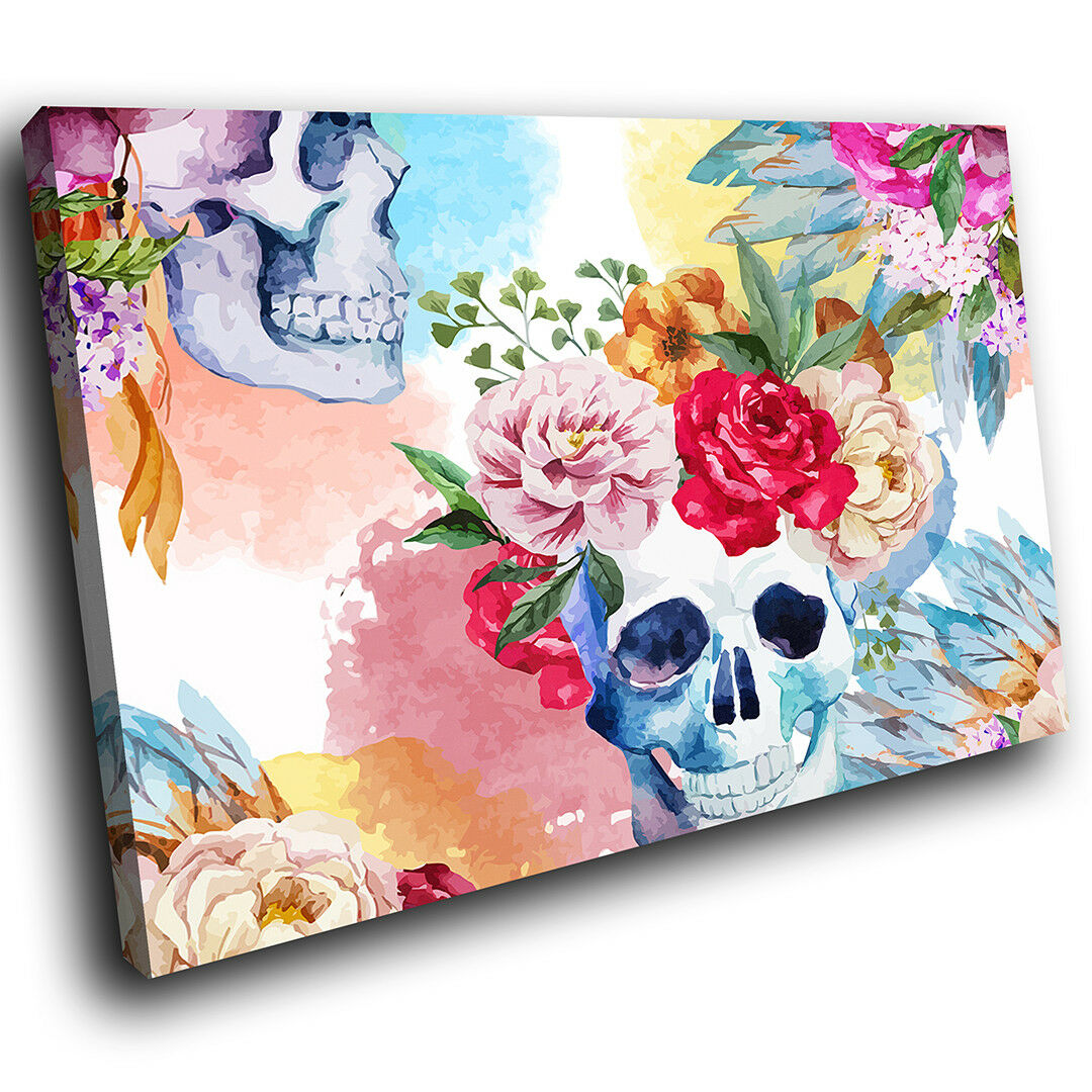 AB996 Cool Colourful Skull Modern Abstract Canvas Wall Art Large Picture Prints