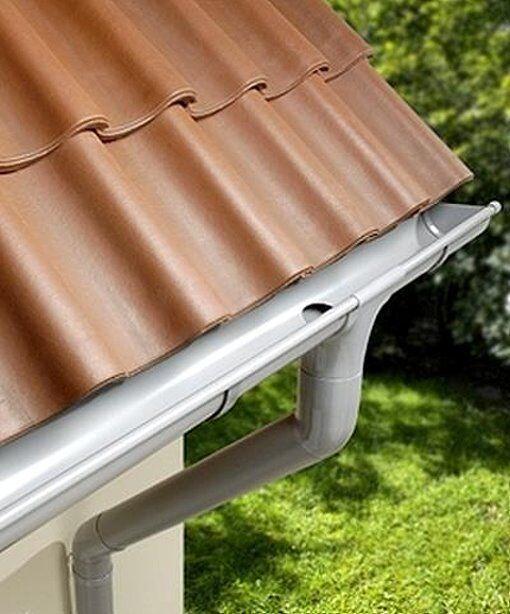 Dachrinne Rinnensatz Regenrinne Grau 2x500cm KOMPLETT - SET