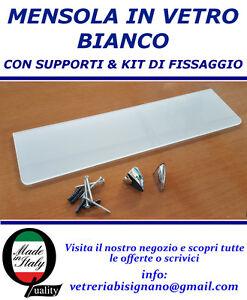 Mensole Vetro Su Misura.Dettagli Su Mensola Vetro Bianco 55 X 15 Kit Di Fissaggio Spessa 6 Mm Disponibile Su Misura