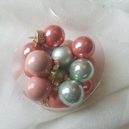 12 Mini Christmas Pastel Baubles set Peach Pink Green Heaven Sends Decorations