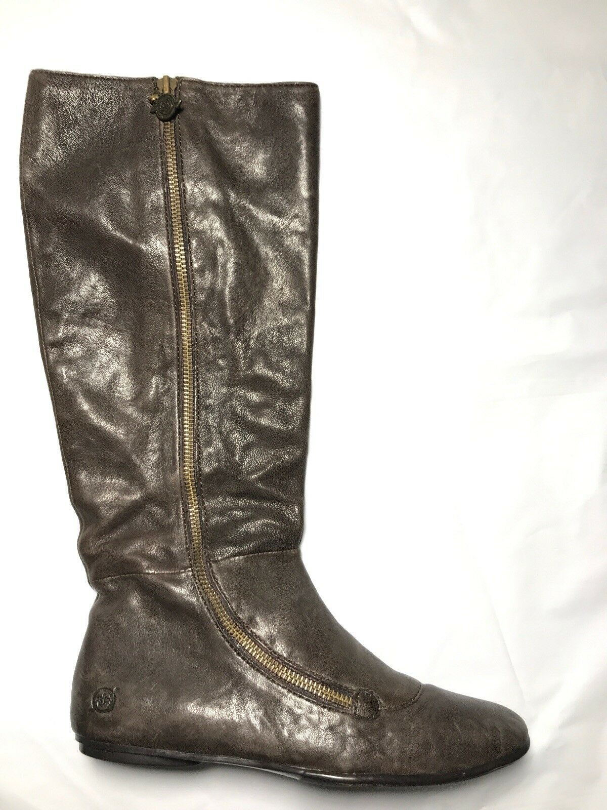 New Born Coffee Brown Leather Women's Knee High Flat Comfort Boots  size 6