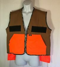 Ideal Hunting Vest LARGE Brown Canvas w Safety Orange Pockets Zip Front USA