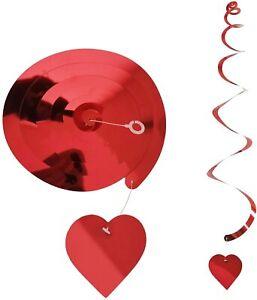 Hanging Red Heart Swirls Set Valentines Day Decorations 18 pcs