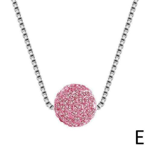 Rhinestone Pendant Crystal Zircon Necklace Women Silver Jewelry Metal Chain Z5W4
