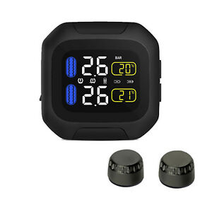 Motorcycle-TPMS-Tire-Tyres-Pressure-Temperature-Monitor-System-W-2Pcs-Sensors