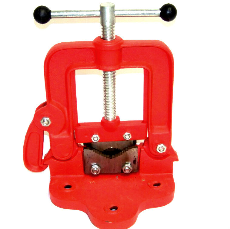 3 Bench Pipe Vice Yoke Hinged Clamp on Type Pipe Threader Plumbing Hand Tools