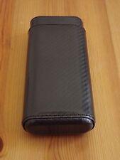 New  Black Carbon Fiber 3 Finger 52R Gauge Cigar Case Holder with Cedar Lining