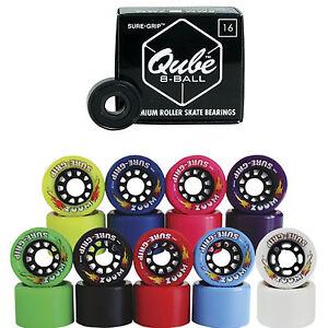 Indoor-Roller-Skate-Wheels-with-Bearings-Sure-Grip-Zoom-w-Qube-8-Ball-Bearing