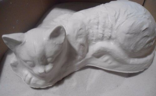"""Cat mold Poly plastic long laying cat resin plaster concrete 11/"""" L x 5.5/"""" x 4/""""H"""