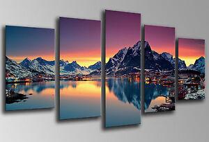 Cuadro fotografico Paisaje Moskenes, Noruega, Base Madera 145x62 cm, ref.26154
