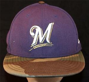 196b03aae Details about MEN'S Milwaukee Brewers New Era Camo Sports Baseball Hat  Miller Park MLB WI BLUE